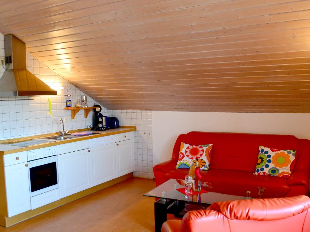 Ferienwohnung Storchennest, Ferienhof Joas in Gerolfingen, Wohnbereich