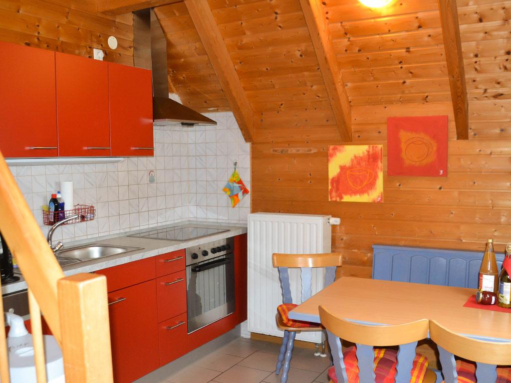 Ferienhaus Drossel, Ferienhof Joas in Gerolfingen, Essbereich mit Küche